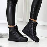 Молодежные черные полу спортивные женские ботинки натуральная кожа, фото 7