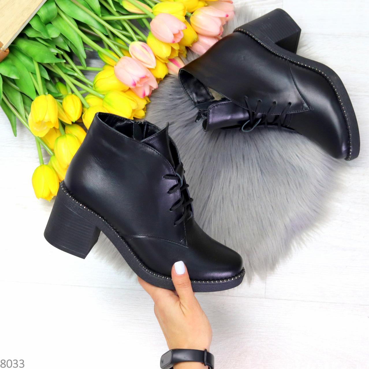 Черные зимние ботинки ботильоны натуральная кожа на устойчивом каблуке