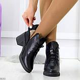Черные зимние ботинки ботильоны натуральная кожа на устойчивом каблуке, фото 3