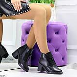 Черные зимние ботинки ботильоны натуральная кожа на устойчивом каблуке, фото 4