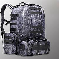 """Тактический рюкзак с подсумками """"Mountain - 50 pack"""" (кобра черная) на 50 литров, армейский, военный, edc"""