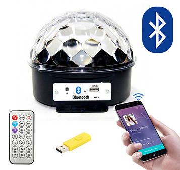 Блютуз диско шар светодиодный музыкальный MP3 с флешкой и ПДУ, LED KTV Ball (220V), светомузыка для дома