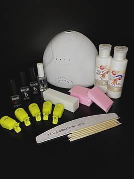 Стартовий набір для покриття нігтів гель-лаком Kodi, УФ-LED лампа SunOne 48 Вт