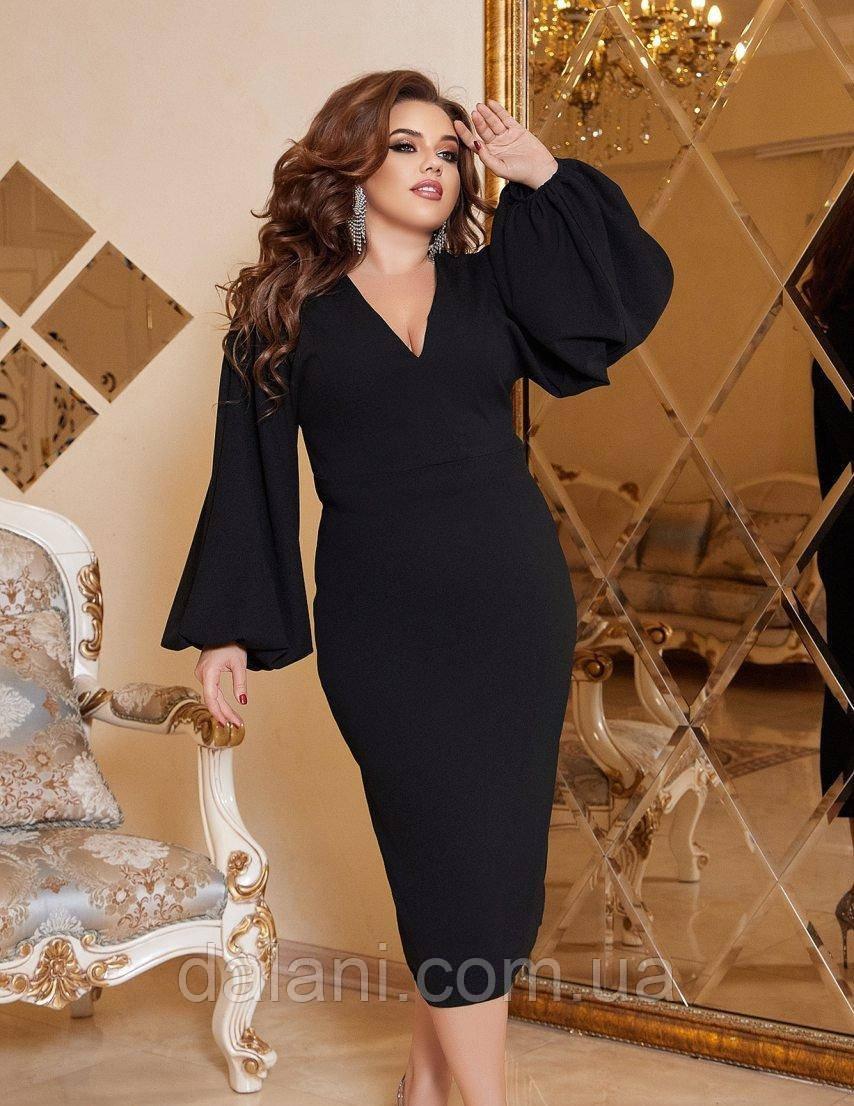 Вечірнє чорне плаття-футляр з об'ємними рукавами батал