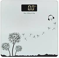 Весы напольные стеклянные (квадратные) на 180 кг Domotec MS-1604 Silver (3272)