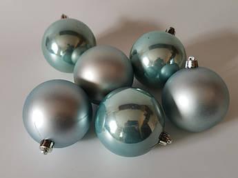 Новогодний декор. Ёлочные шары 8 см, голубая акварель. 6 шт