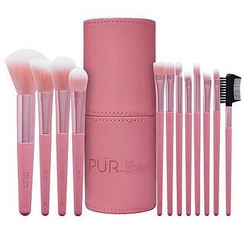 Набор из 12 кистей для макияжа в розовой тубе PÜR Signature Travel Essentials 12 Piece Set