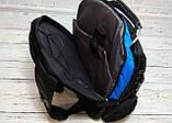 Вместительный рюкзак. Черный с синим. + Дождевик. 35L / s1531 blue, фото 5