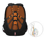 Вместительный ортопедический рюкзак. Черный. 35L / s6612 black, фото 9