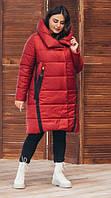 Удлиненная женская зимняя куртка Зимние длинные куртки женские Кирпичный