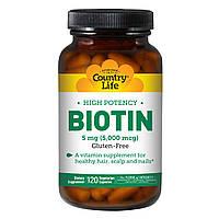 Концентрированный Биотин (В7), 5 мг, High Potency Biotin, Country Life, 120 желатиновых капсул