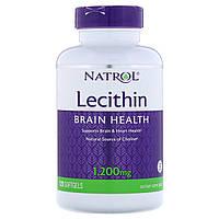 Лецитин 1200 мг, Lecithin, Natrol, 120 желатиновых капсул