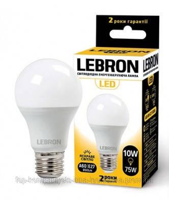 Лампа светодиодная LEBRON 10W, L-А-60, Е-27, 4100К, 1050lm, угол 240