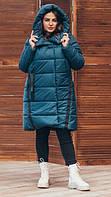 Женская удлинённая зимняя куртка Куртка зима женская удлиненная Изумрудный