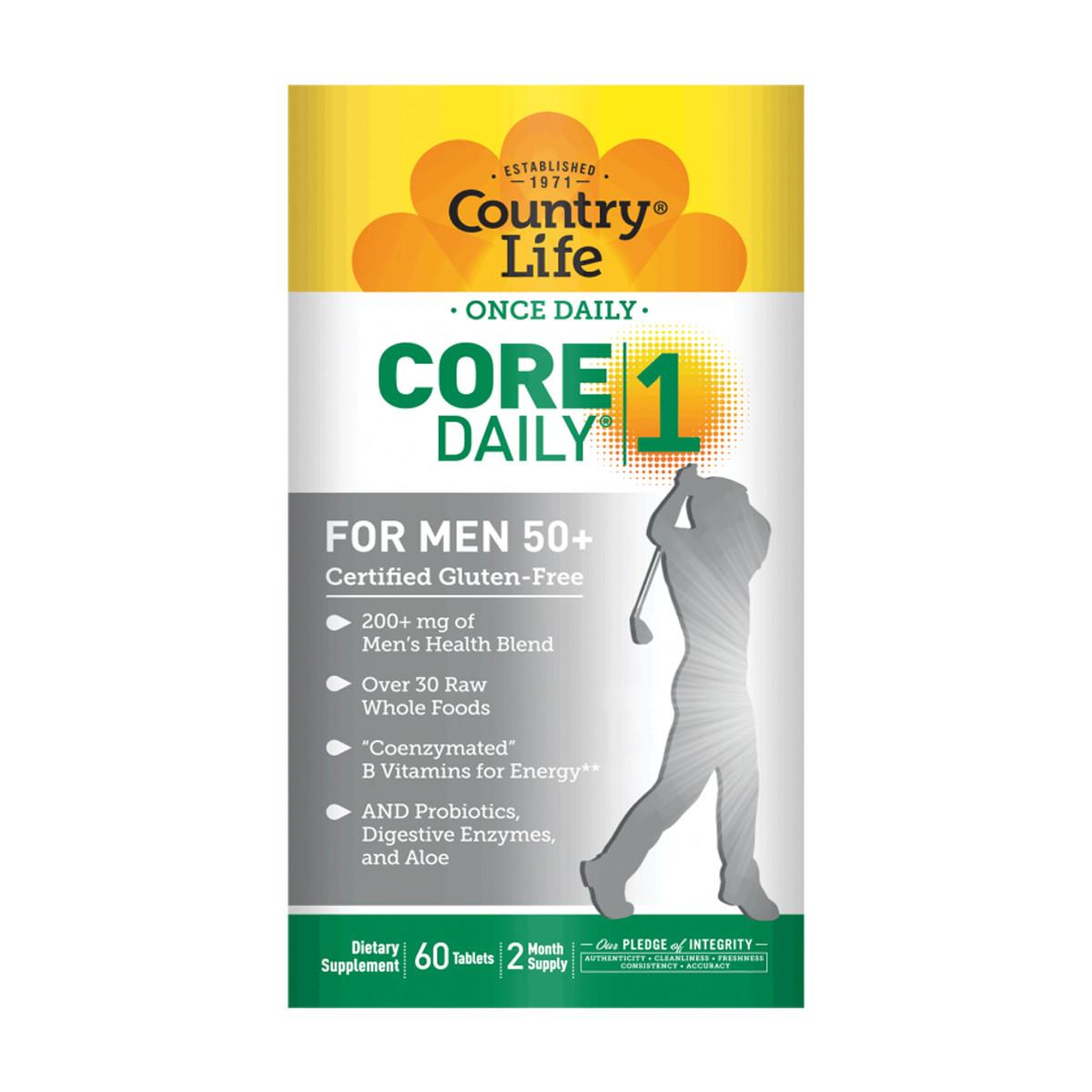 Мультивитамины для Мужчин, 50+, Core Daily-1 for Men 50+, Country Life, 60 таблеток