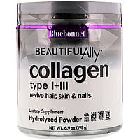 Коллаген 1 и 3 типа, Beautiful Ally, Bluebonnet Nutrition, Collagen Type I + III, порошок 198 г
