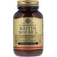 Биотин (В7) 5000 мкг, Solgar, 50 гелевых капсул