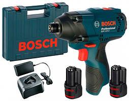 Аккумуляторный ударный гайковерт Bosch GDR 120-LI + 2 акб GBA 12V 2 Ah + GAL 12V-20 + чемодан (06019F0001)