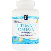 Рыбий Жир, Вкус Лимона, Nordic Naturals, Ultimate Omega, Lemon, 1,280 мг, 180 Капсул