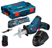 Набір Bosch реноватор GOP 12V-28 + пила GSA 12V-14 з/у GAL 1230 CV + 2 x акб GBA 12V 2 Ah + валіза L-boxx
