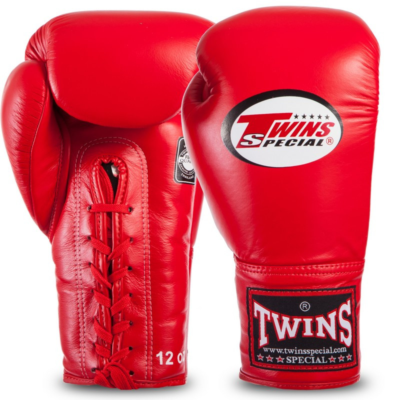 Боксерские перчатки кожаные на шнуровке TWINS BGLL1 красные, 18 унций