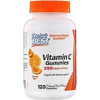 Витамин С с Апельсиновым Вкусом, Vitamin C Gummies, Doctor's Best, 250 мг, 120 желейных конфет