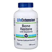 Восстановление Костей + К2, Bone Restore with Vitamin K2 Life Extension, 120 Капсул