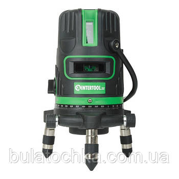 Уровень лазерный 5 лазерных головок, зеленый лазер, звуковая индикация. INTERTOOL MT-3008