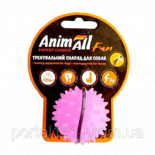 Игрушка AnimAll Fun мяч каштан для собак, 5 см, фиолетовая