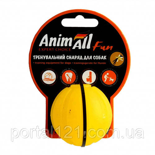 Іграшка AnimAll Fun тренувальний м'яч для собак, 5 см, жовта
