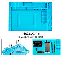 Антистатический, термостойкий коврик для пайки с магнитными зонами (силиконовый) S160