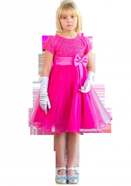 Ярко розовое платье  на утренник для девочек