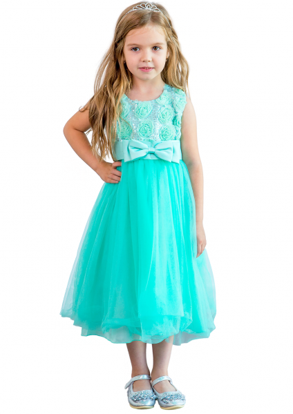 Детское  нарядное платье мятного цвета