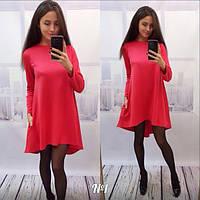 Женское стильное удлиненное сзади платье в расцветках, фото 1