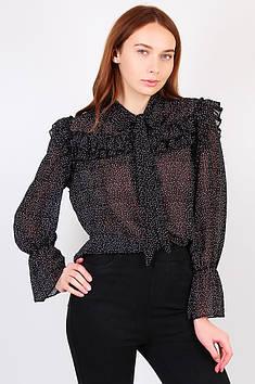 Блузка женская горох черная размер 46 114974T