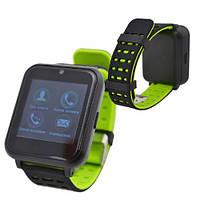 Смарт-часы UWATCH Z2 съемный ремешок Умные часы с функцией громкой связи и камерой Черно-салатовые