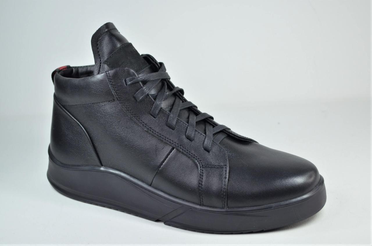 Мужские зимние кожаные ботинки кеды черные eD - Ge Cima