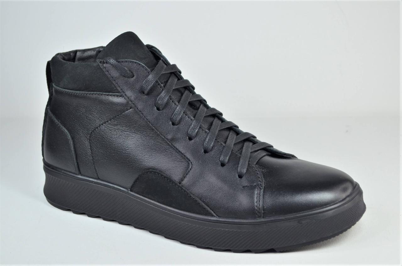 Чоловічі зимові шкіряні черевики чорні кеди eD - Ge VR