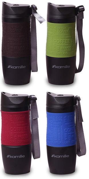 Термокружка Kamille Coffee 480мл с ремешком, нержавеющая сталь