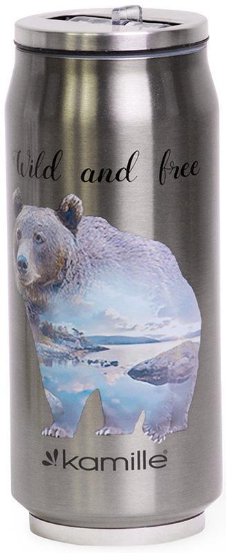 Термокружка Kamille Wild&Free 500мл с трубочкой