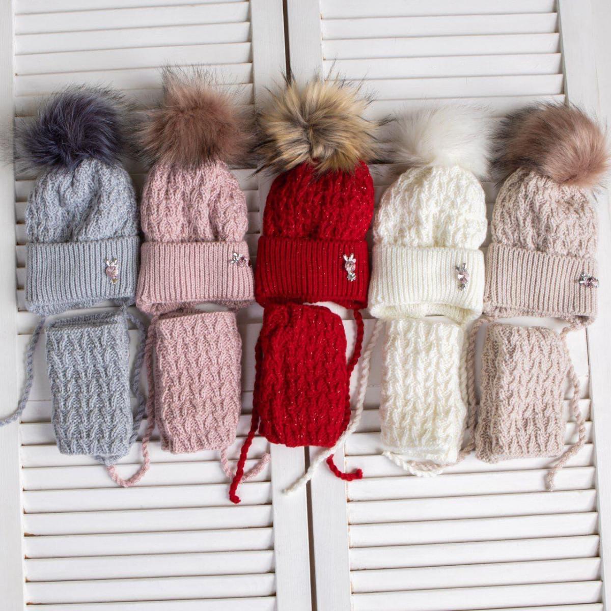 Вязаний комплект (шапка і хомут) для дівчинки оптом - Артикул 2720
