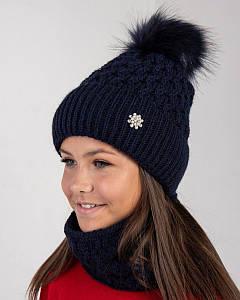 Вязаний комплект з помпоном для дівчинки оптом - Артикул 2657