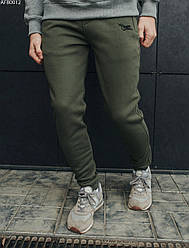 Спортивные штаны мужские Staff khaki logo fleece хаки осень/зима XS S