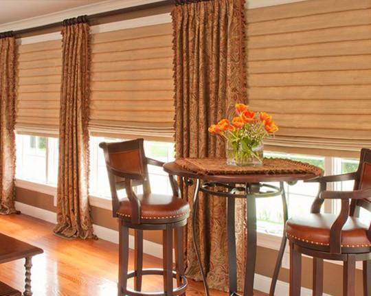 Пошив штор для кафе из разных тканей