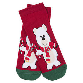 Носки женские новогодние, Мишка бордовый