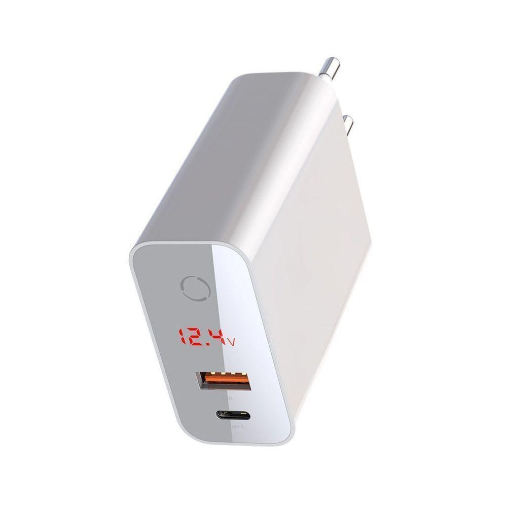 СЗУ Baseus Speed PPS Intelligent Power-Off and Digital Display PD3.0+QC3.0 45W (Type-C+USB) white