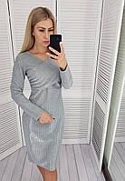 Платье-футляр с запахом на груди, серебристый  М322/1, фото 1