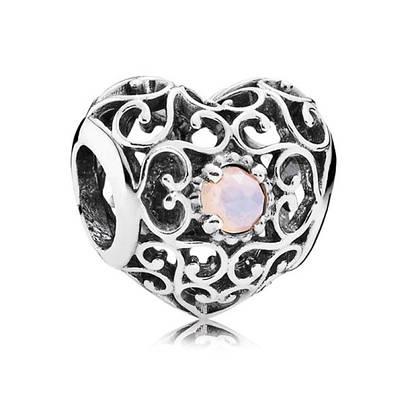 Шарм «Сердце-талисман октября» из серебра 925 пробы копия Pandora