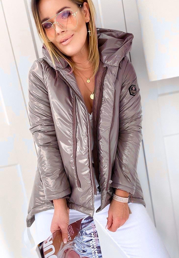 Женская курточка  Монти Виниловая плащевка Силикон 150. 6 цветов : оливка, беж, серый, мокко, розовый, чёрный.