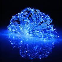 """Новогодняя гирлянда нить """"Роса"""" Xmas на батарейках синего свечения (прозрачный провод, 10 метров), фото 2"""